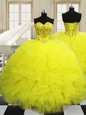 Eye-catching Light Yellow Lace Up Sweetheart Beading and Ruffles Sweet 16 Dress Tulle Sleeveless