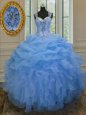 Customized Organza Straps Sleeveless Zipper Beading and Ruffles Vestidos de Quinceanera in Blue