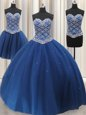 Three Piece Blue Vestidos de Quinceanera Military Ball and Sweet 16 and Quinceanera and For with Beading and Sequins Sweetheart Sleeveless Lace Up