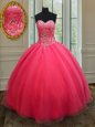 Sexy Coral Red Organza Lace Up Sweetheart Sleeveless Floor Length Sweet 16 Dress Beading