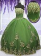 Customized Olive Green Tulle Zipper Quince Ball Gowns Sleeveless Floor Length Appliques