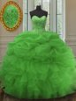 Fantastic Olive Green Zipper Sweet 16 Quinceanera Dress Appliques Sleeveless Floor Length