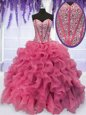 Stunning Coral Red Organza Lace Up Sweet 16 Dress Long Sleeves Floor Length Beading and Embroidery