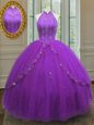 Elegant High-neck Sleeveless Tulle Sweet 16 Quinceanera Dress Beading and Appliques Lace Up