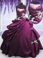 Pretty Purple Ball Gowns Taffeta Strapless Sleeveless Appliques and Pick Ups Floor Length Lace Up Sweet 16 Dresses