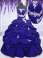 Dynamic Royal Blue Ball Gowns Taffeta Strapless Sleeveless Appliques and Pick Ups Floor Length Lace Up Vestidos de Quinceanera