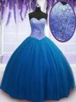 Wonderful Floor Length Ball Gowns Sleeveless Teal Sweet 16 Quinceanera Dress Lace Up