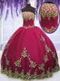 Traditional Fuchsia Organza Lace Up Sweetheart Sleeveless Floor Length Quinceanera Gown Ruffles