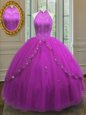 Classical Floor Length Lace Up Quinceanera Gowns Fuchsia and In for Military Ball and Sweet 16 and Quinceanera with Beading and Appliques