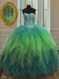 Sequins Floor Length Ball Gowns Sleeveless Multi-color Sweet 16 Quinceanera Dress Lace Up