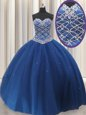 High Class Floor Length Royal Blue Quinceanera Gown Tulle Sleeveless Beading and Sequins