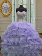 Extravagant Sleeveless Lace Up Floor Length Appliques Ball Gown Prom Dress