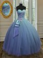 Extravagant Light Blue Sleeveless Floor Length Appliques Lace Up Sweet 16 Quinceanera Dress