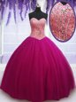 Most Popular Sweetheart Sleeveless Sweet 16 Dresses Floor Length Beading Hot Pink Tulle