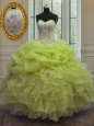 High End Sweetheart Sleeveless Quinceanera Gown Floor Length Beading and Ruffles Baby Blue Organza