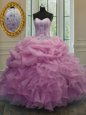 Nice Lavender Organza Lace Up Strapless Sleeveless Floor Length Quinceanera Dresses Embroidery and Pick Ups