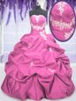 Great Hot Pink Ball Gowns Beading and Embroidery and Pick Ups 15 Quinceanera Dress Lace Up Taffeta Sleeveless Floor Length