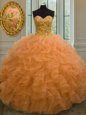 Orange Lace Up Sweetheart Beading and Ruffles Quinceanera Gowns Organza Sleeveless