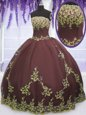 Admirable Strapless Sleeveless Zipper Sweet 16 Dresses Chocolate Tulle