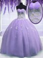 Delicate Floor Length Zipper Quinceanera Gown Lavender and In for Military Ball and Sweet 16 and Quinceanera with Beading