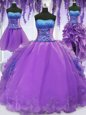 Four Piece Lavender Lace Up Sweet 16 Dresses Embroidery and Ruffles Sleeveless Floor Length