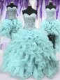 Fantastic Four Piece Sweetheart Sleeveless Quinceanera Gown Floor Length Ruffles and Sequins Light Blue Organza