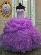 Free and Easy Sweetheart Sleeveless Sweet 16 Dresses Floor Length Beading and Pick Ups Lilac Organza