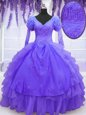 Elegant Purple Ball Gowns Beading and Embroidery and Hand Made Flower Sweet 16 Dresses Lace Up Organza Long Sleeves Floor Length