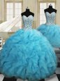 Graceful Three Piece Baby Blue Organza Lace Up Sweetheart Sleeveless Floor Length 15th Birthday Dress Beading and Ruffles