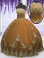 Floor Length Zipper Sweet 16 Dress Brown and In for Military Ball and Sweet 16 and Quinceanera with Appliques