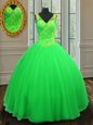 Ball Gowns Quinceanera Gown Green V-neck Tulle Sleeveless Floor Length Zipper