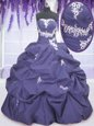 Sumptuous Four Piece Floor Length Lavender Ball Gown Prom Dress Organza Sleeveless Ruffles and Sequins