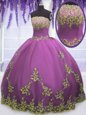 Fancy Fuchsia Tulle Zipper Strapless Sleeveless Floor Length Quinceanera Gown Appliques