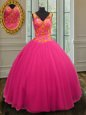 Elegant Fuchsia Ball Gowns Sweetheart Sleeveless Tulle Floor Length Lace Up Beading and Sequins Quinceanera Gown