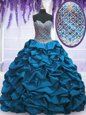 Sweetheart Sleeveless Lace Up Quinceanera Dresses Apple Green Organza