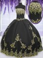 Floor Length Black Quinceanera Gown Tulle Sleeveless Appliques