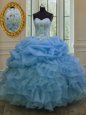 Floor Length Lace Up Quince Ball Gowns Blue and In for Military Ball and Sweet 16 and Quinceanera with Beading and Pick Ups