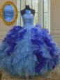 Strapless Sleeveless Sweet 16 Dress Floor Length Beading and Ruffles Multi-color Organza