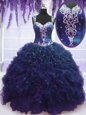Exceptional Straps Floor Length Navy Blue Quinceanera Dresses Tulle Sleeveless Beading and Ruffles