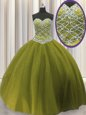 Dramatic Sweetheart Sleeveless Vestidos de Quinceanera Floor Length Beading Olive Green Tulle