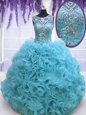 Square Baby Blue Sleeveless Organza Lace Up Vestidos de Quinceanera for Military Ball and Sweet 16 and Quinceanera
