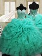 Four Piece Sweetheart Sleeveless 15 Quinceanera Dress Floor Length Beading and Ruffles Orange Organza