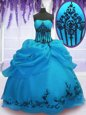 Captivating Ball Gowns 15th Birthday Dress Blue V-neck Organza Sleeveless Floor Length Lace Up