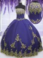 Embroidery and Ruffles Ball Gown Prom Dress Purple Lace Up Sleeveless Floor Length