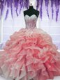 Red Organza Lace Up Sweet 16 Dresses Sleeveless Floor Length Beading and Ruffles