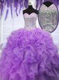 Beauteous Sequins Floor Length Ball Gowns Sleeveless Lavender Sweet 16 Quinceanera Dress Lace Up