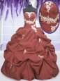 High End Sleeveless Floor Length Appliques and Pick Ups Lace Up Sweet 16 Quinceanera Dress with Rust Red
