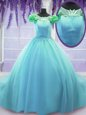Fantastic Scoop Blue Tulle Lace Up Vestidos de Quinceanera Short Sleeves Court Train Hand Made Flower