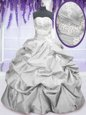 Free and Easy Sleeveless Lace Up Floor Length Embroidery and Pick Ups Quinceanera Dress