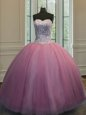 Dramatic Organza Sweetheart Sleeveless Lace Up Beading Quinceanera Gowns in Baby Pink